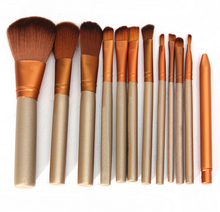 2015 Hot N brand 12pcs/lot wholesales golden makeup brushes set,cosmetics high quality make up brush set