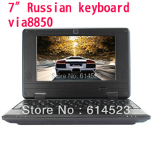 7 inch Russian keyboard Mini Netbook Laptop Notebook with WIFI Windows CE 6.0/Android 2.2 4GB HD(China (Mainland))