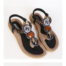 Big Size 35-41 Europe Hot 2015 Bohemian Women Sandals Gemstone Beaded Slippers Summer Sandals Women Ladies Flat Sandals Shoes(China (Mainland))