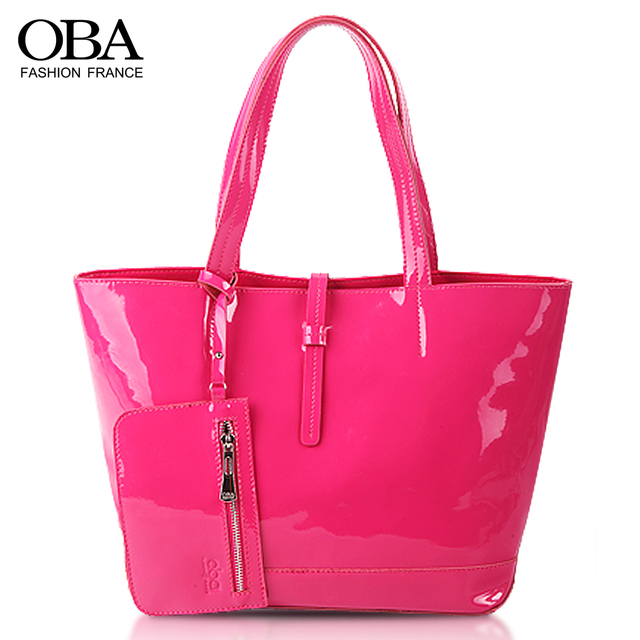 Free Shipping Oba2013 women's japanned leather bags fashion ice cream handbag jelly color genuine leather shoulder bag