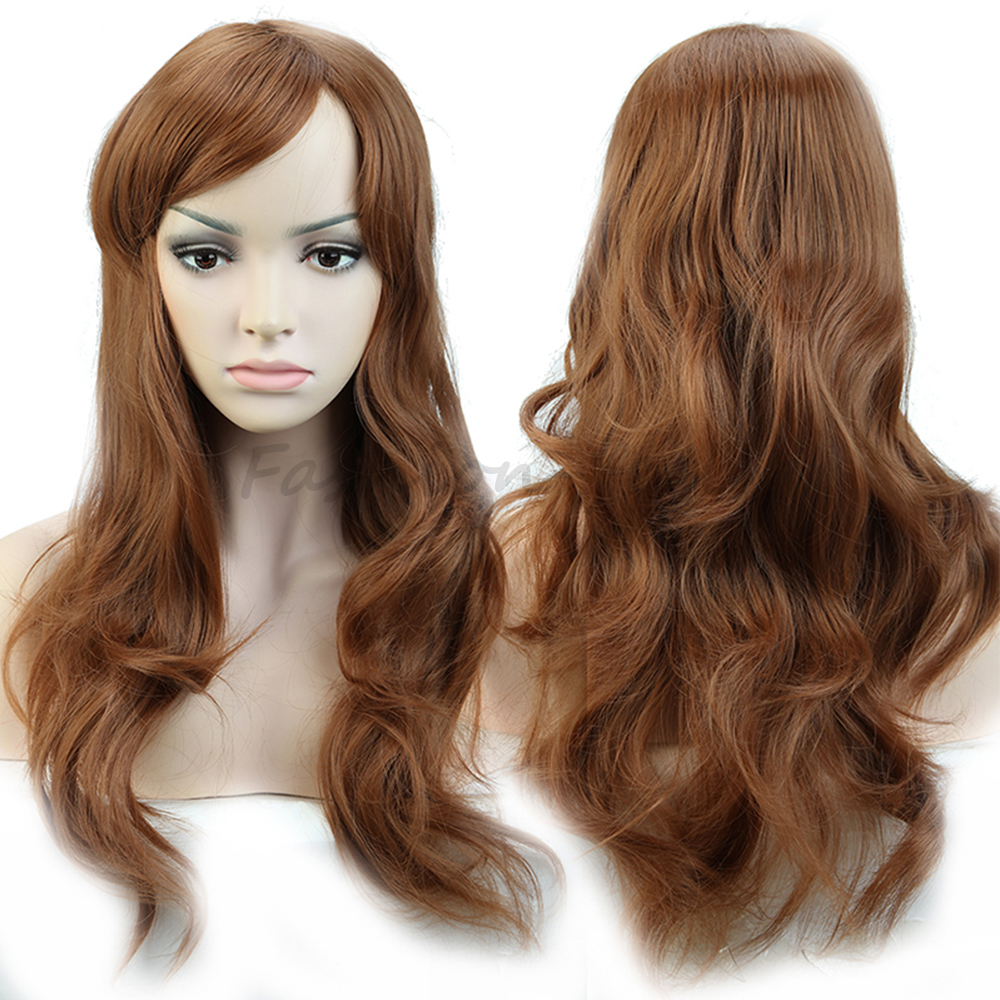 """19"""" Stylish Long Costume Party Full Wigs Deluxe Curly Wavy Top Quality Synthetic Hair Wig Natural For All Momen Light Brown(China (Mainland))"""