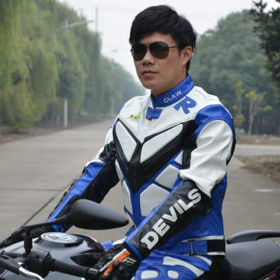 Removable motorcycle racing road Hot PU Blue White jacket windproof layer guts racing suits motorcycle protective gear(China (Mainland))