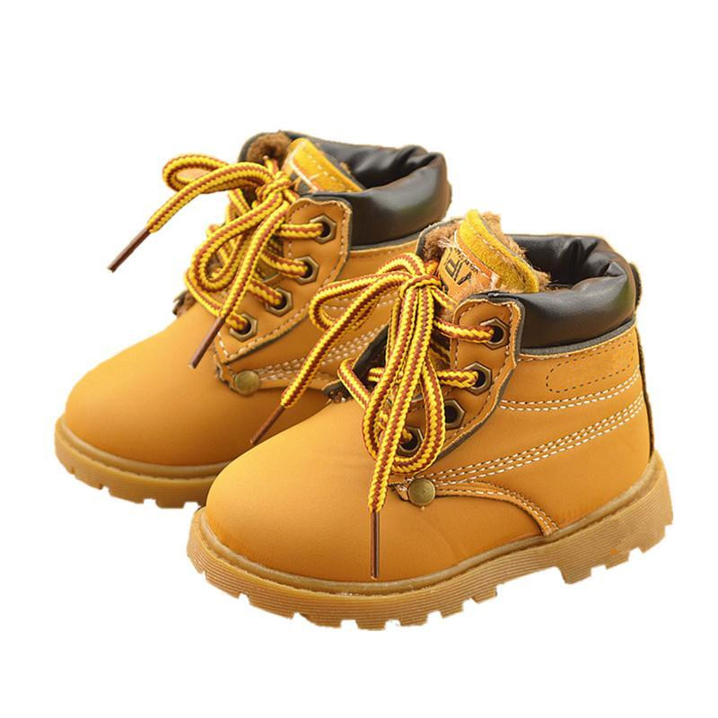 Top selling winter Fashion Child Leather Snow Boots For Girls Boys Warm Martin Boots Shoes Casual Plush Child Baby Toddler Shoe(China (Mainland))