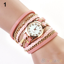 2014 New FAshion Hot Colorful Vintage women watches Weave Wrap Rivet Leather Bracelet wristwatches watch 0YUW
