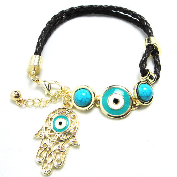 Fashion Brand Golden/Silver Hand-made woven Leather bracelet hamsa evil eye Bracelet Ethnic Women Charm Bangle - Ailsa Jewelry store