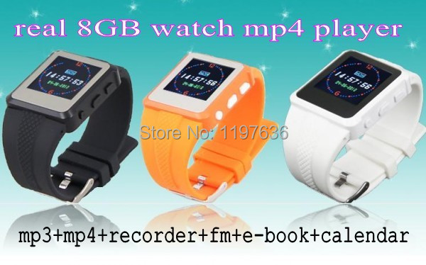 Hot sale ! 2pcs/lot Real 8GB MP3 Mp4 Player Watch, FM+E-book+Recorder free shipping & kids best gift(China (Mainland))