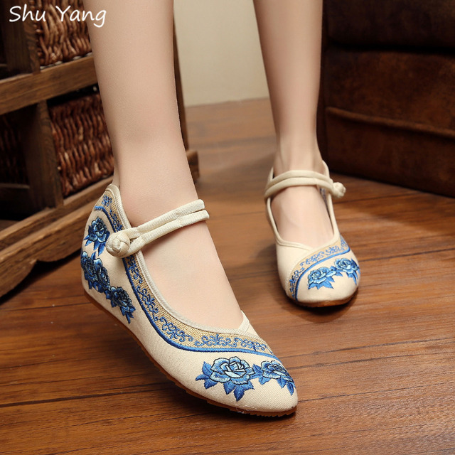 Мода старый ткань квартиры обувь, Китайский национальный стиль мягкой подошве роуз ...