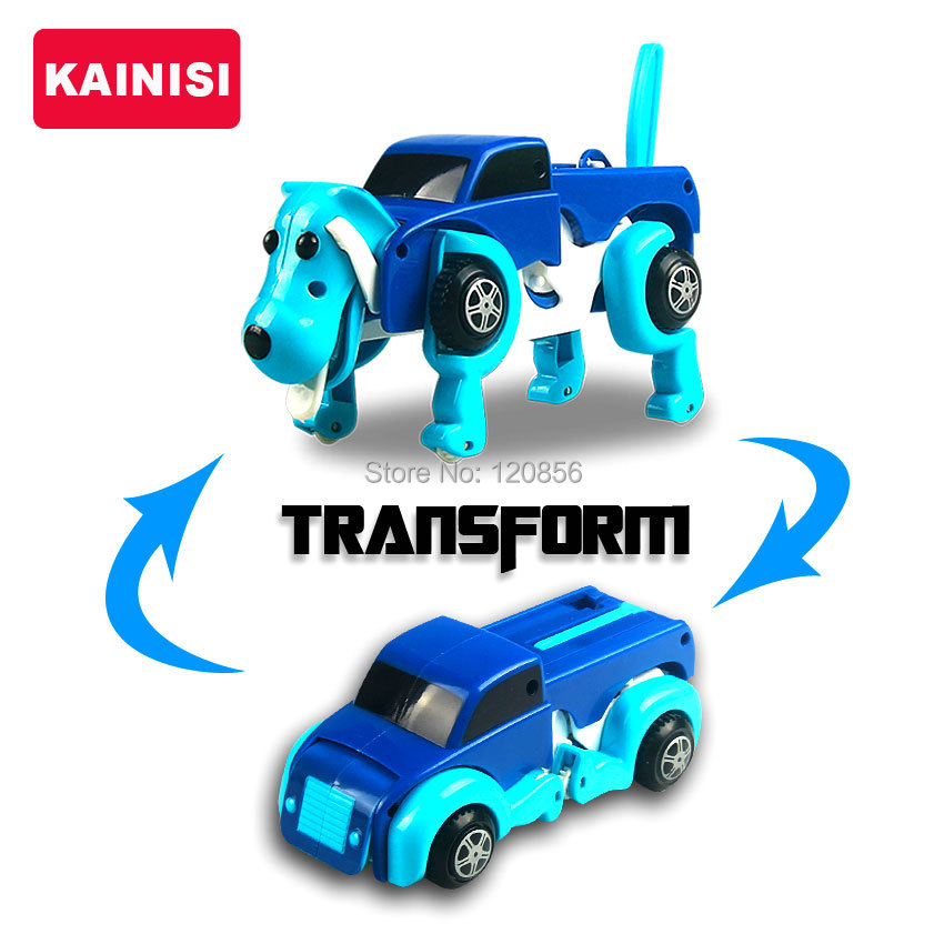 free shipping 4 colors 14CM cool Automatic transform Dog Car Vehicle Clockwork Wind up toy for children kids boy girl toy Gift(China (Mainland))