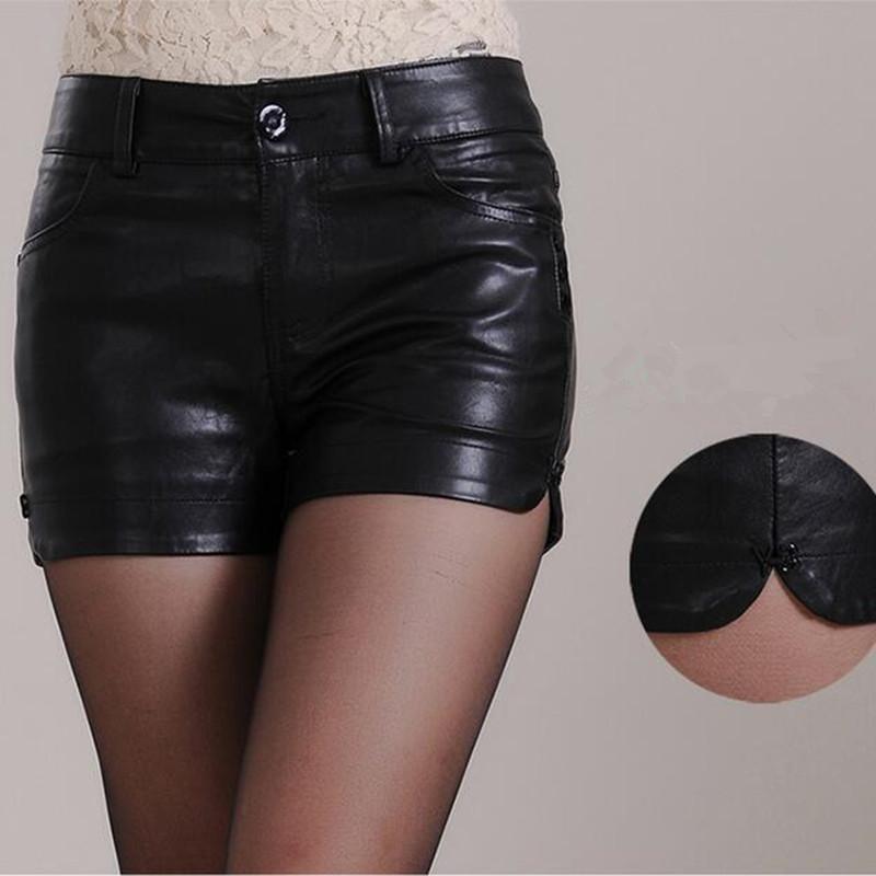 2016 new fashion shorts women ploy urethane leather shorts mini sexy shorts plus size black short femme XL XXL(China (Mainland))