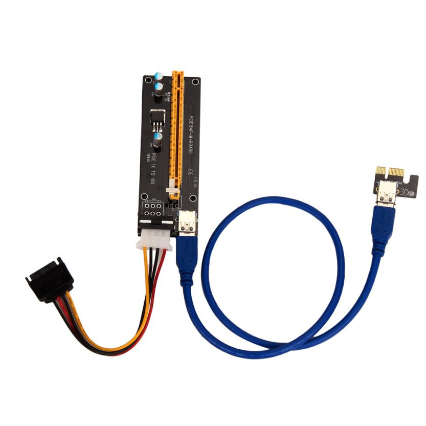 Top Quality PCI-E Express Powered Riser Card W/ USB 3.0 extender Cable 1x to 16x Monero JUL 4(China (Mainland))