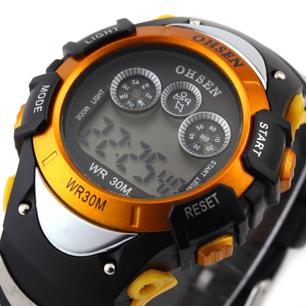 Fashion OHSEN Digital LCD Display LED Back Light Date Alarm Rubber Band Men's Orange Outdoor Running Sport Wrist Watch / OHS047(China (Mainland))