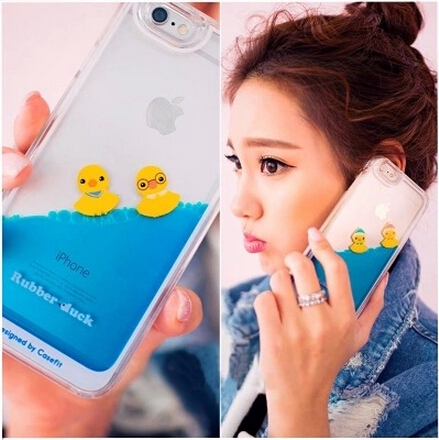 Luxury Hard Floating Liquid Swimming PC Case with Duck Yellow Hard coque Cases Cover capa para for iPhone 6 or for iphone6 plus(China (Mainland))