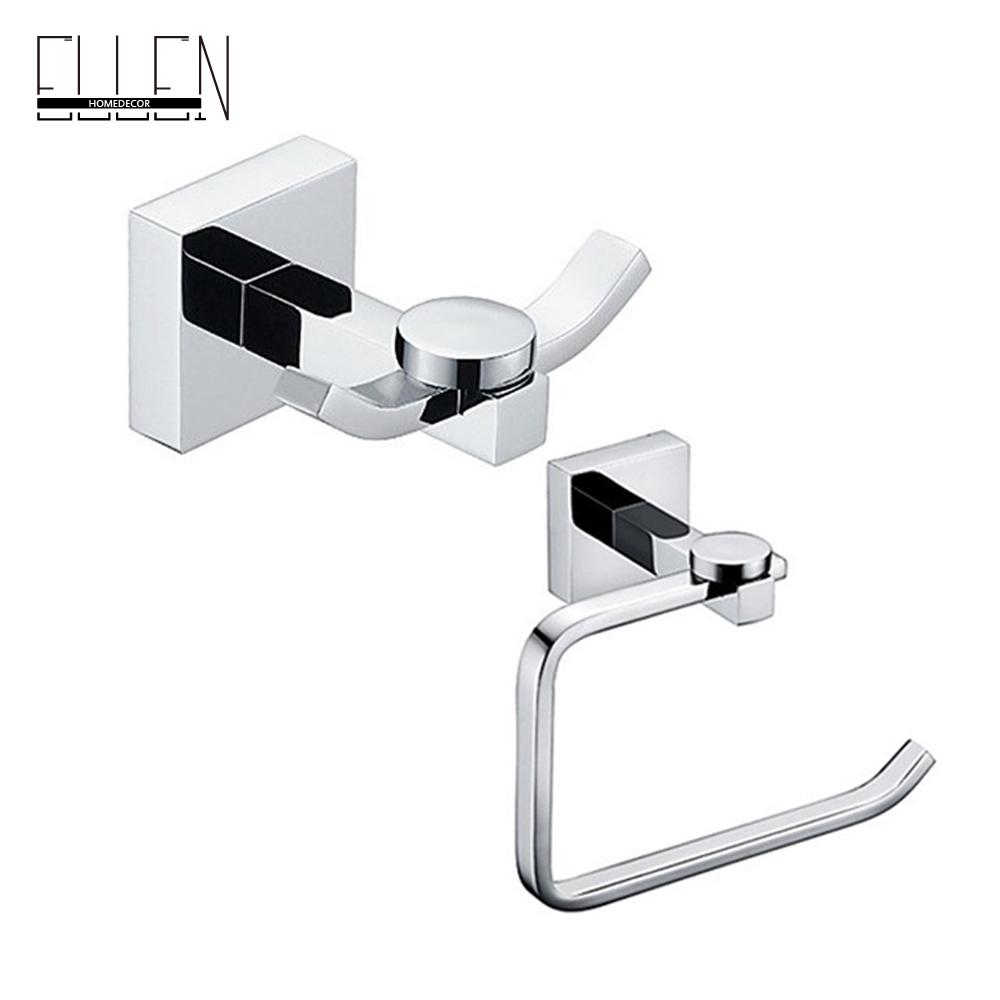 Elegant Solid Brass 2-piece Bathroom hardware robe hook .paper holder bathroom accessories set - Ellen Homedecor store