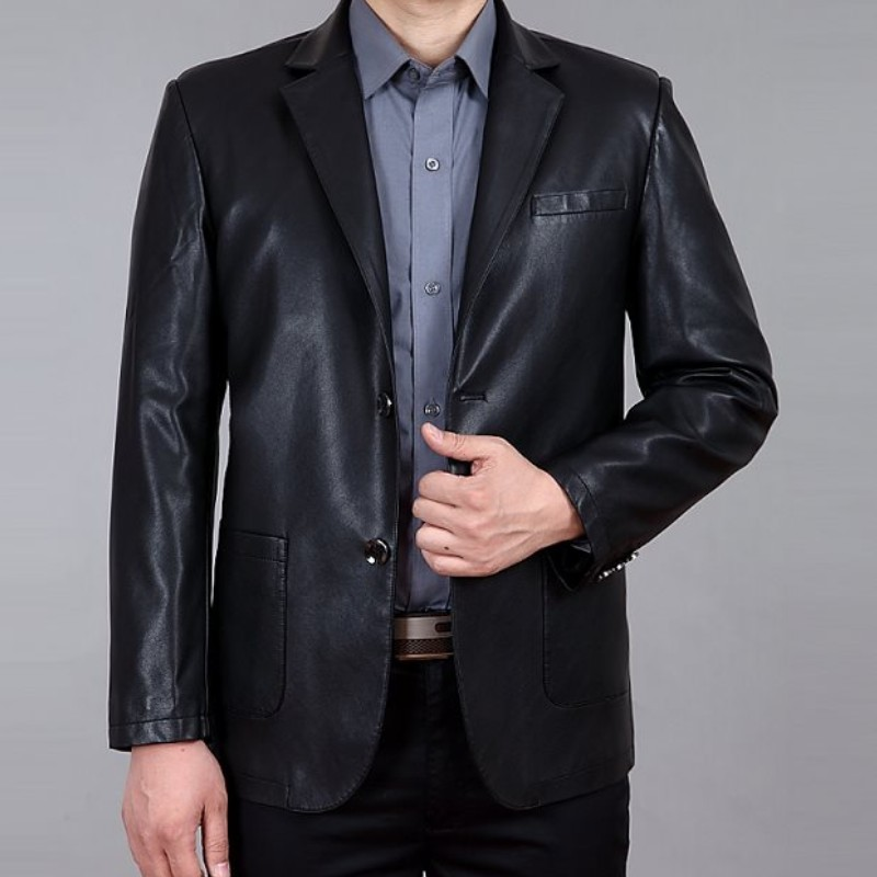 The New High-grade Leather Men's Cultivate One's Morality Men's Leather Suit Men's Leather Jackets Free Shipping Leather Jacket(China (Mainland))