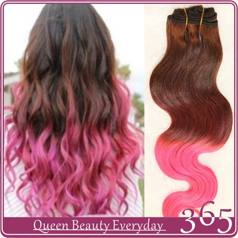 Ombre hair extensions brown pink body wave brazilian virgin human hair weave 7A grade 365 queen hair products free shipping(China (Mainland))