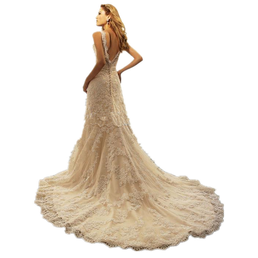 Champagne lace mermaid wedding dress for Aliexpress mermaid wedding dresses
