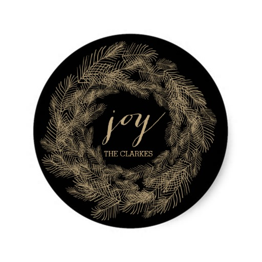 3.8cm WINTER FOLIAGE WREATH STYLISH HOLIDAY GIFT TAGS CLASSIC ROUND STICKER(China (Mainland))