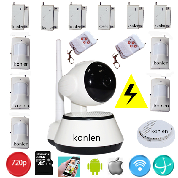DHL free security alarm system wireless + wifi P2P HD IP camera 720p for home 2 in 1 burglar alarma camera maison systems(Hong Kong)