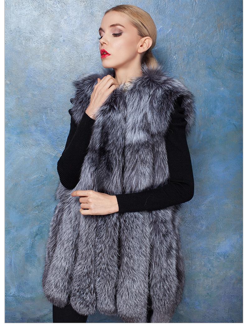 New Arrivel Genuine Fur Whole Skin Fox Fur Women Vest 100% Real Silver Fox Fur Vest Brand Fashion Women Gilet Plus Size BF-V0023(China (Mainland))