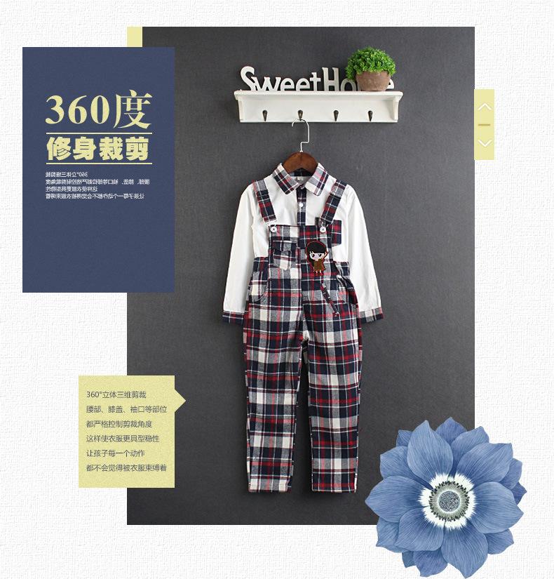 Скидки на Осенняя мода девушки спецодежда набор Корейских детей брюки Плед костюм одежда