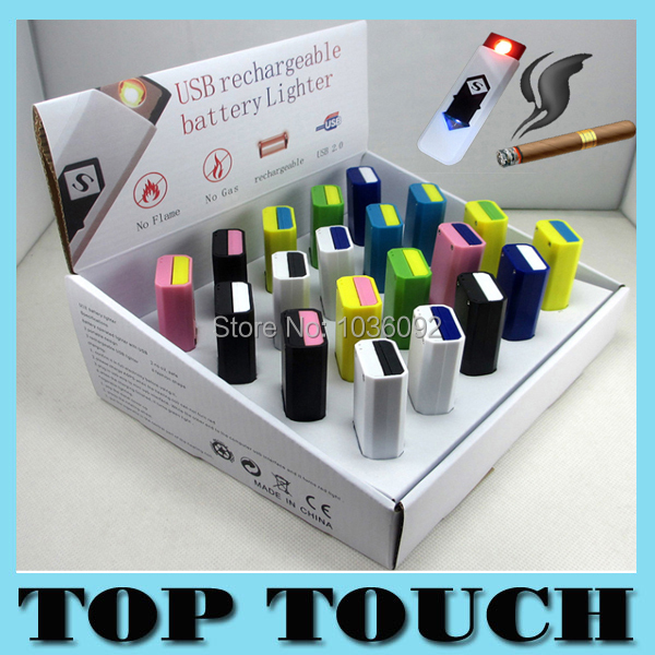 2015 Hot Sale Excellent Gift Lighter USB Rechargeable Flameless Cigar Cigarette Electronic Lighter No Gas Colorful