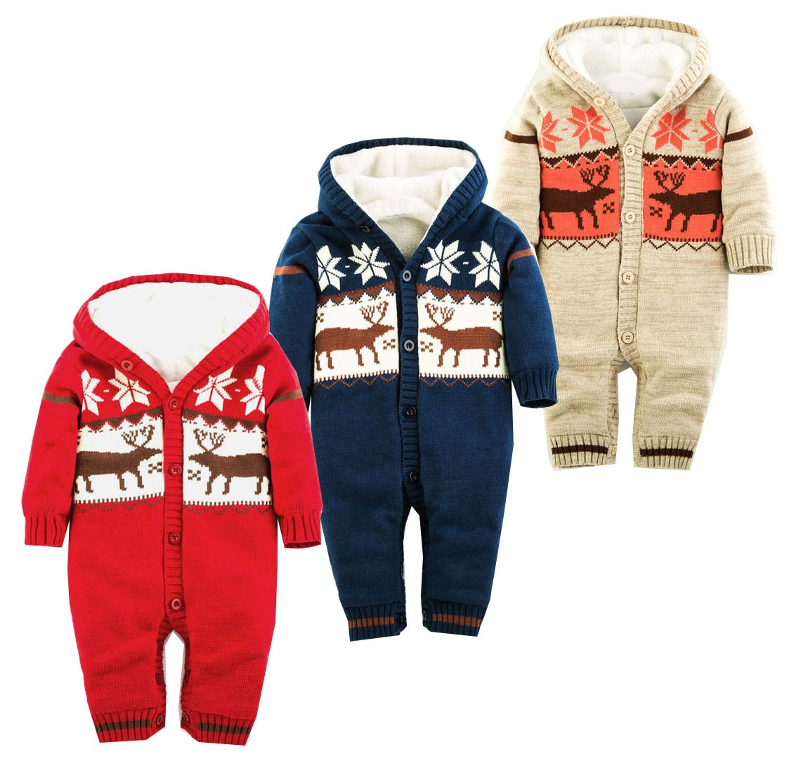 Autumn Winter Baby Romper Christmas Deer Thick Newborn Baby Clothing Hooded Baby Girl Overalls Baby Boys Clothes Infant Costume(China (Mainland))