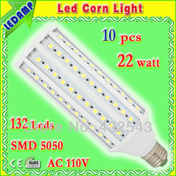 high lumen 132 leds smd 5050 led e27 22w light bulb ac 110v screw led corn light bulb lamp warm / white light free shipping