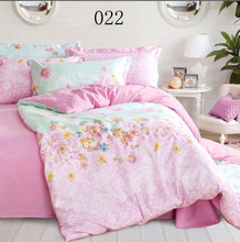 Fresh pink Flowers Reactive Print 4Pcs bedding sets  include Duvet Cover Bed sheet Pillowcase king/Queen/Full size home textile(China (Mainland))