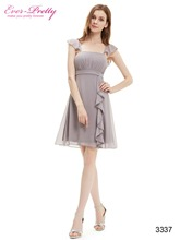 Chiffon Cocktail Dresses Ever Pretty HE03337 Plus Size Ruffles Calf-length Summer Style Party Dresses(China (Mainland))