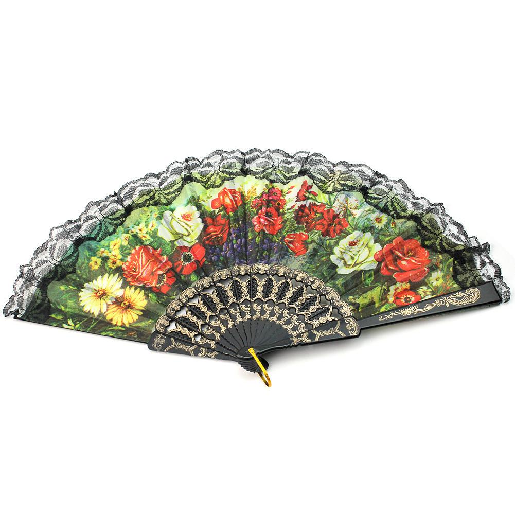 Retro Spanish Folding Dance Hand Fan Decorative Design Peony Flowers With lace(China (Mainland))