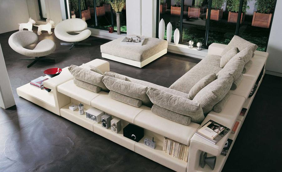 Free shipping modern design l shaped leather and fabric for L shaped sofa designs living room