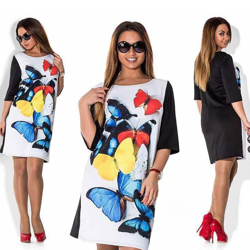 2016 New Fashion Summer Women Half Sleeve Butterfly Print Dresses Pencil Mini Loose Casual Dress(China (Mainland))