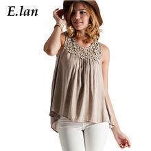 Elan 2016 крючком кружева блузка баски топы чистой рубашки женщины свободного покроя без рукавов рубашка Blusas Большой размер сорочка роковой назад повязку