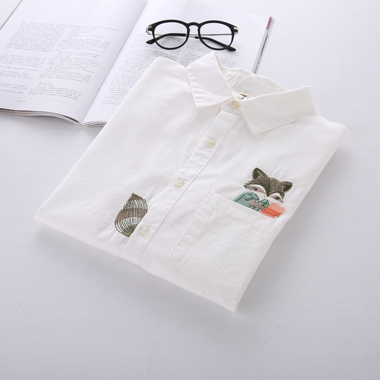Cartoon Fox Embroidery White Long Sleeve Shirt Women Cotton Blouse Free Shipping(China (Mainland))