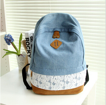 2015 Fashion Fresh Lace Denim Women's Canvas Backpack School bag For Girl Ladies Teenagers Casual Travel bags Schoolbag YA80-91(China (Mainland))