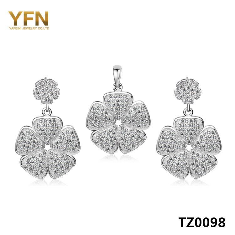 TZ0098 Fashion Silver Flowers Jewelry Set Genuine 925 Sterling Cubic Zircon Earrings Pendant Gifts Women - Elegant Co.,Ltd store