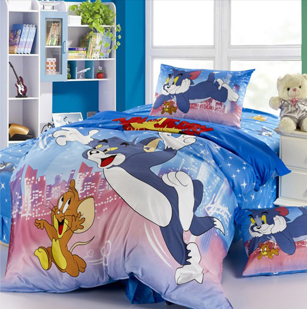 bedding set. red mickey mouse bedding sets cartoon pattern children's quilt or duvet covers sets 3pc for Egyptian cotton full/be(China (Mainland))