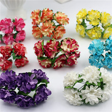 12pcs/lot 3cm Valentine Gift MIni Artificial Paper Rose Flower Bouquet Wedding Decor Scrapbooking(China (Mainland))