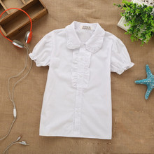 2015 Brand Summer Girls Short-Sleeve Ruffled Collar Cotton Lovely Girls School Princess White Princess White Blouses Hot Sale(China (Mainland))