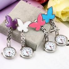 1 pc Pocket infirmière médicale Fob montre femmes robe montres 4 couleurs Clip - on pendentif suspendus horloge à Quartz en forme de papillon(China (Mainland))