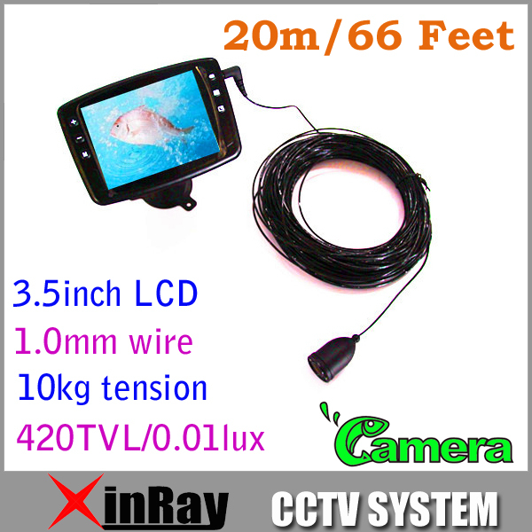 Free Shipping Fish finder Fishing Equipment Underwater Camera 20m/66feet 1.0mm wire 10KG Tension 3.5inch LCD XR-SFD20(China (Mainland))