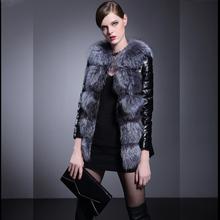 New Casual Women Patchwork Fox Fur Collar Pu Leather Slim Jacket Long Section Plus Size Fashion Female Fur Overcoats S/4Xl J1403