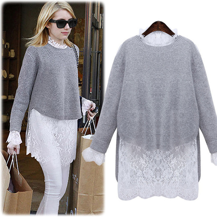 European Style 2016 Spring New Fashion Solid Women Dress Sweaters and White Lace Dress Two-piece Dresses Vestido(China (Mainland))