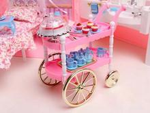 New 2014 Lovely Dollhouse Miniature Pink Cake Cart with Birthday Cake, Cupcake for Barbie doll(China (Mainland))
