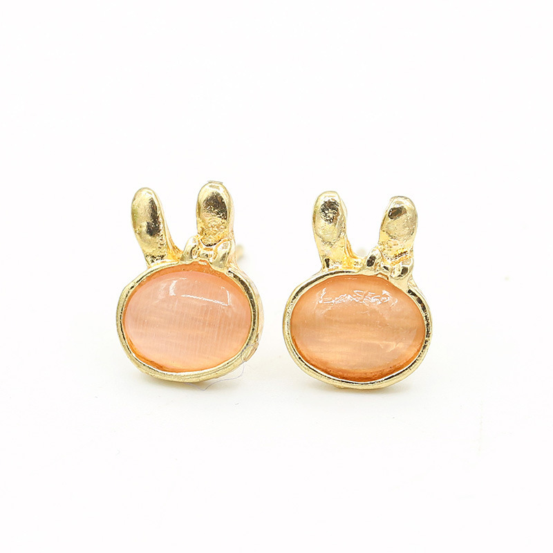 Beautiful Moonstone cute bunny earrings opal earrings Korean pop Korean ear jewelry special offer free shipping(China (Mainland))