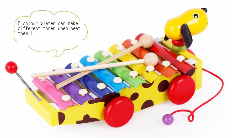 Glockenspiel Educational Music Colour Learning Wooden Dog Drag Xylophone Piano Pull Toys(China (Mainland))