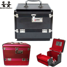 wenjie brother Professional Aluminium alloy Make up Box Makeup Case Beauty Case Cosmetic Bag Multi Tiers Lockable Jewelry Box(China (Mainland))