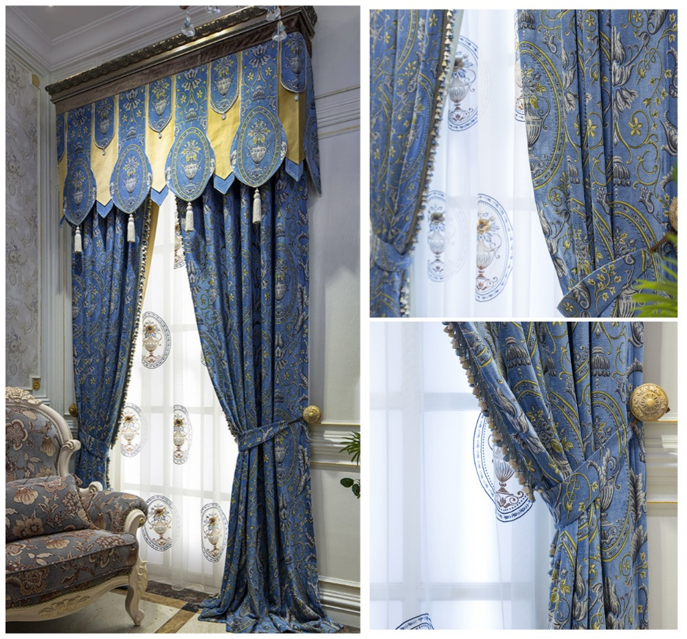 2016 Luxurious American Style Light Blue Traditional Design Chenille Sofa Curtain Fabirc(China (Mainland))
