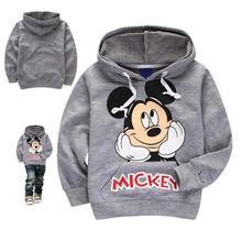 Autumn/winter 2016 new children mickey cotton fleece coat boys & girls cartoon printed sweatshirts children's hooded sweatshirt(China (Mainland))