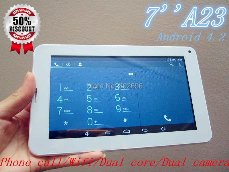 7 inch Allwinner A23 phone call tablet pc support SIM card Android 4.2 dual camera dual core wifi free shipping!!hot sell!!(China (Mainland))
